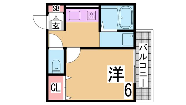 物件番号: 1111265159  神戸市須磨区村雨町5丁目 1K ハイツ 間取り図