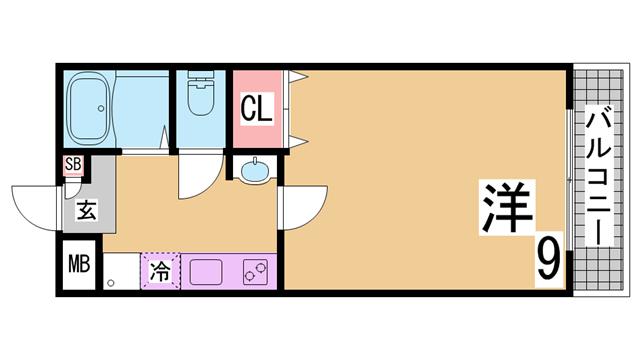 物件番号: 1111265837 ルセール  神戸市長田区大塚町1丁目 1K アパート 間取り図