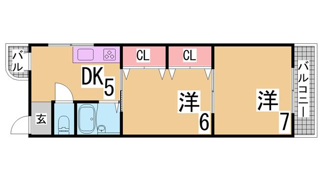 物件番号: 1111267051  神戸市兵庫区上三条町 2DK マンション 間取り図