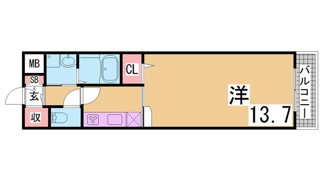 物件番号: 1111267457  神戸市須磨区車字口道谷 1K ハイツ 間取り図
