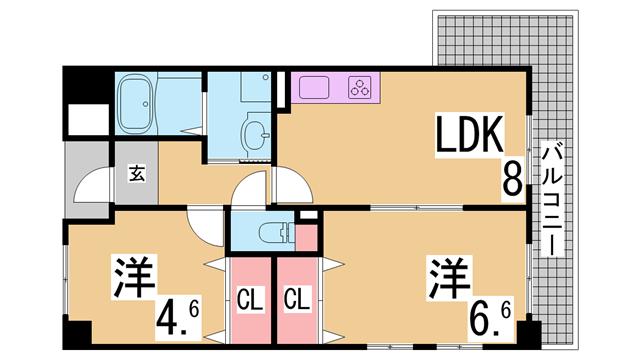 物件番号: 1111267633  神戸市兵庫区熊野町2丁目 2DK マンション 間取り図