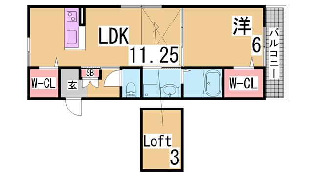 物件番号: 1111267693 ロータスコート長田  神戸市長田区蓮宮通4丁目 1LDK アパート 間取り図