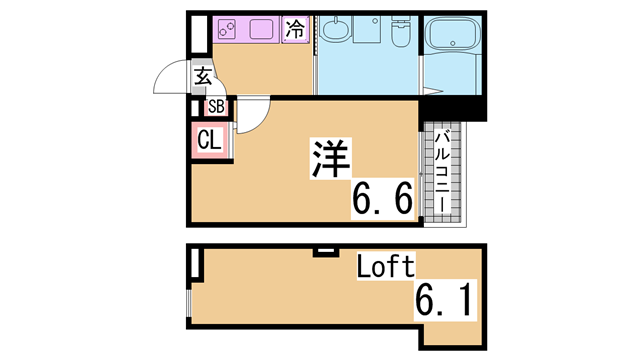 物件番号: 1111268091 アルエット神戸  神戸市長田区浜添通5丁目 1SK アパート 間取り図