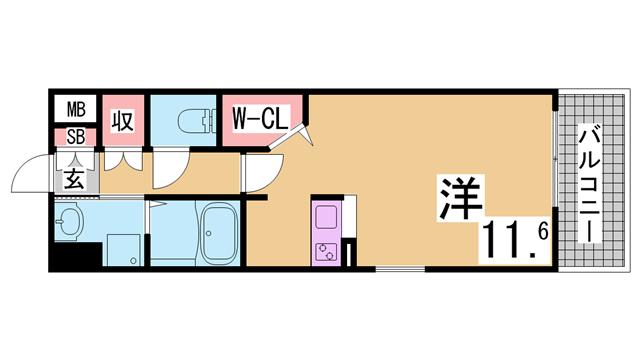 物件番号: 1111268858  神戸市長田区水笠通4丁目 1K マンション 間取り図