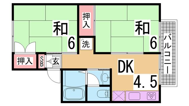 物件番号: 1111269976 リラハイツ  神戸市北区東大池3丁目 2DK ハイツ 間取り図