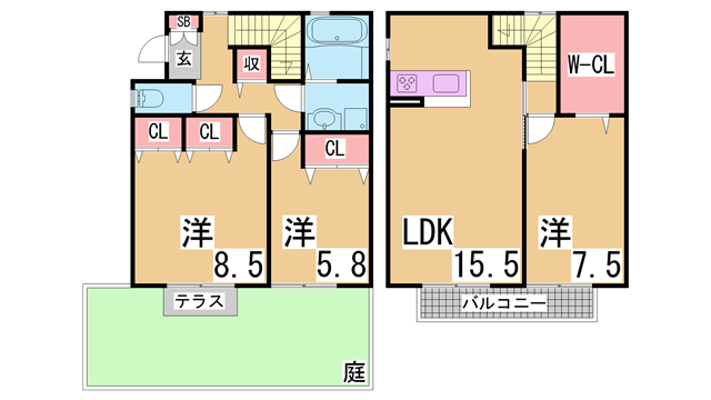 物件番号: 1111270116  神戸市北区八多町中 3LDK テラスハウス 間取り図