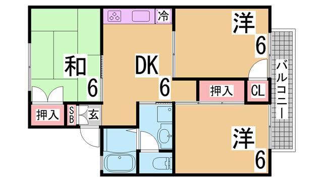 物件番号: 1111270124  神戸市須磨区東落合3丁目 3DK ハイツ 間取り図