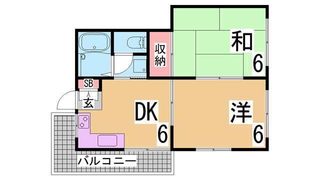 物件番号: 1111270776  神戸市垂水区旭が丘2丁目 2DK マンション 間取り図