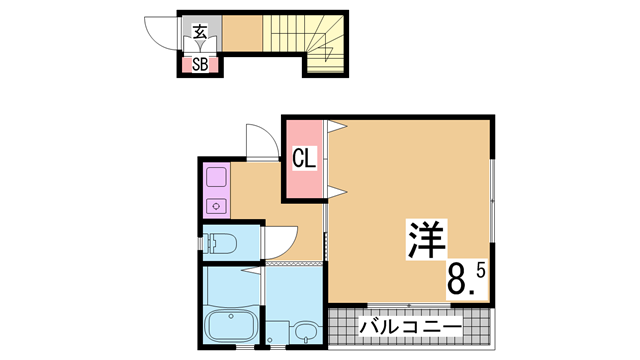 物件番号: 1111270823  神戸市長田区松野通3丁目 1K ハイツ 間取り図