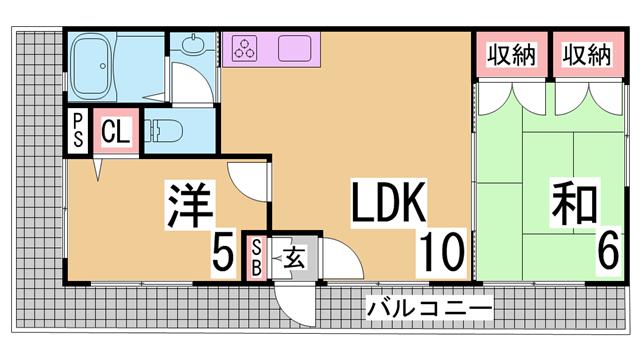 物件番号: 1111271803 ハイツグリーンピア  神戸市長田区片山町2丁目 2LDK マンション 間取り図