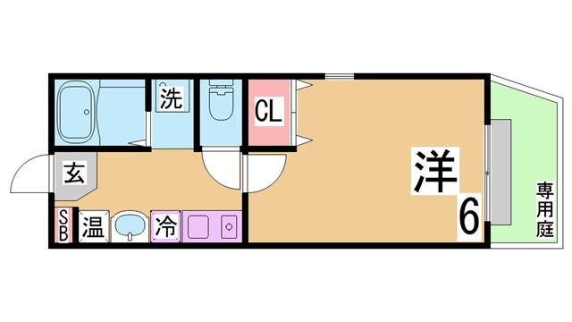 物件番号: 1111271931  神戸市長田区西山町1丁目 1K アパート 間取り図