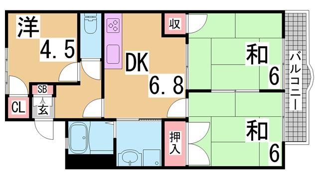 物件番号: 1111272076  神戸市北区鹿の子台北町5丁目 3DK ハイツ 間取り図