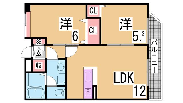 物件番号: 1111272758  神戸市北区有野町唐櫃 2LDK マンション 間取り図