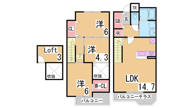 物件番号: 1111273139 コルティーレ谷上Ⅰ・Ⅱ  神戸市北区谷上東町 3SLDK テラスハウス 間取り図