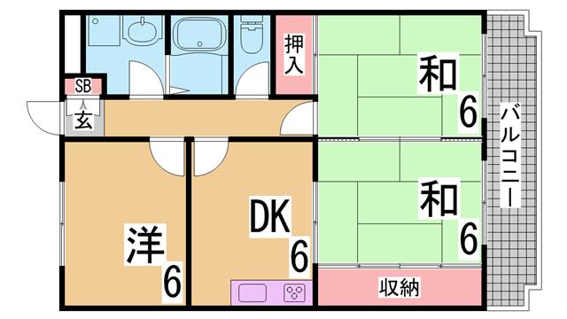 物件番号: 1111273228 ウエストコート谷上  神戸市北区谷上西町 3DK マンション 間取り図
