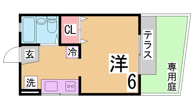 物件番号: 1111274512  神戸市須磨区須磨浦通2丁目 1K ハイツ 間取り図