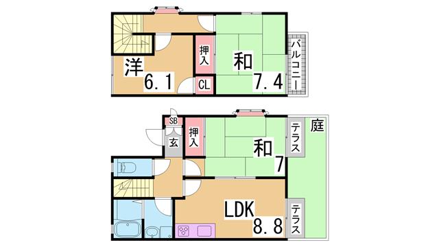 物件番号: 1111274635  神戸市北区藤原台中町2丁目 3LDK テラスハウス 間取り図