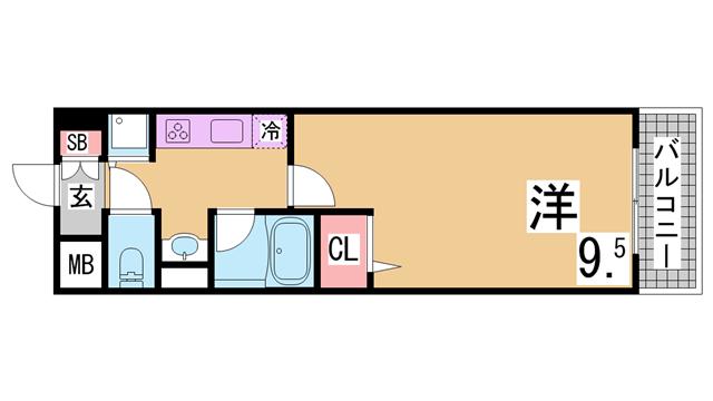 物件番号: 1111274934  神戸市須磨区南落合1丁目 1K マンション 間取り図