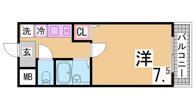 物件番号: 1111275242 ドミール神戸  神戸市兵庫区上沢通7丁目 1K マンション 間取り図