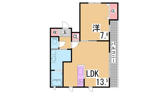 物件番号: 1111276123 ハーモニー西口  神戸市北区鈴蘭台南町3丁目 1LDK ハイツ 間取り図