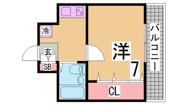 物件番号: 1111276314  神戸市中央区相生町4丁目 1DK マンション 間取り図