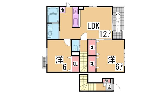 物件番号: 1111276480 カレントハウス  神戸市北区有野町唐櫃 2LDK ハイツ 間取り図