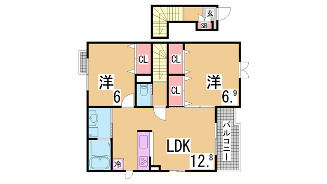 物件番号: 1111276483 カレントハウス  神戸市北区有野町唐櫃 2LDK ハイツ 間取り図