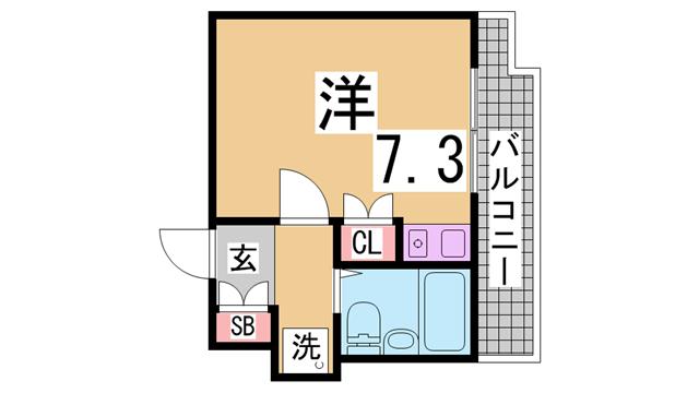 物件番号: 1111277526 藤和シティコア神戸中道通  神戸市兵庫区中道通1丁目 1K マンション 間取り図