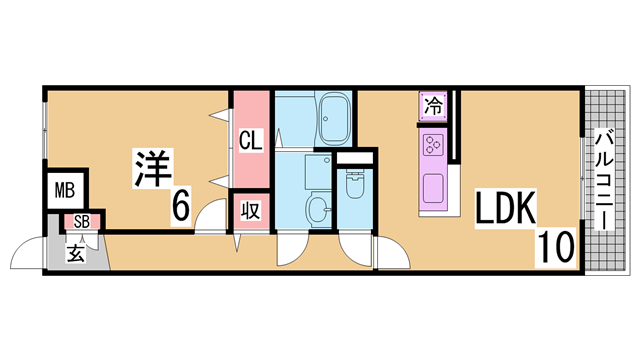 物件番号: 1111278204  神戸市北区唐櫃台1丁目 1LDK アパート 間取り図