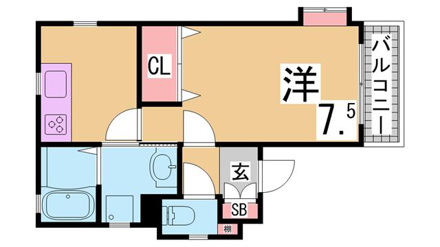 物件番号: 1111280170  神戸市中央区楠町1丁目 1DK マンション 間取り図