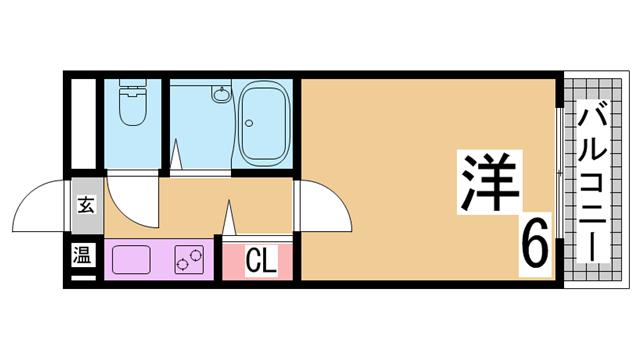物件番号: 1111280182 ニューキャッスル  神戸市長田区久保町3丁目 1K マンション 間取り図