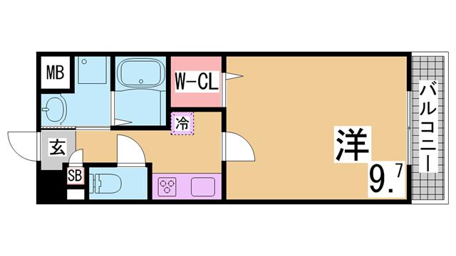 物件番号: 1111280471 ツルトスコⅡ番館  神戸市須磨区車字潰ノ下 1K マンション 間取り図