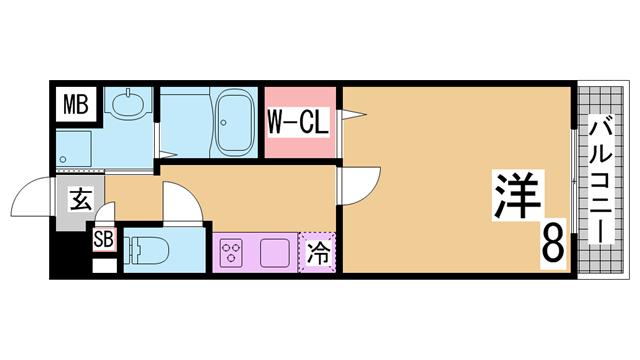 物件番号: 1111281543  神戸市須磨区車字潰ノ下 1K マンション 間取り図