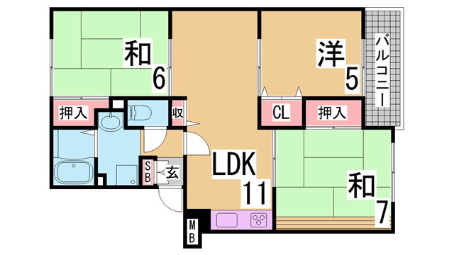 物件番号: 1111281742  神戸市兵庫区平野町字天王谷東服山 3LDK アパート 間取り図