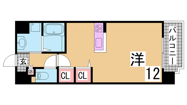 物件番号: 1111282118 ツルトスコⅡ番館  神戸市須磨区車字潰ノ下 1R マンション 間取り図