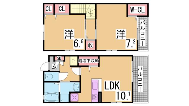 物件番号: 1111282121  神戸市北区青葉台 2LDK テラスハウス 間取り図