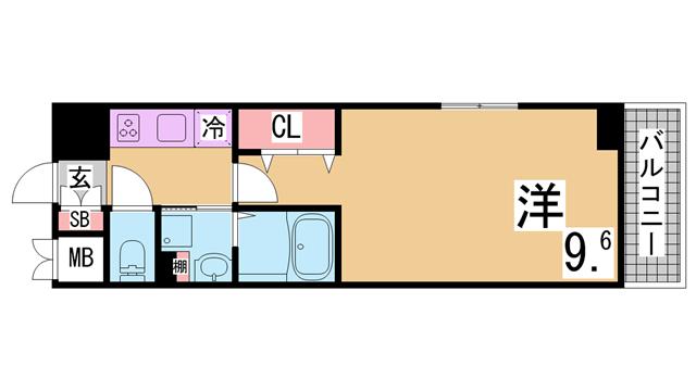 物件番号: 1111282659  神戸市兵庫区駅南通1丁目 1K マンション 間取り図