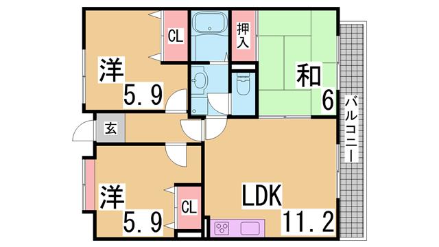 物件番号: 1111282810  神戸市垂水区名谷町字北野屋敷 3LDK マンション 間取り図