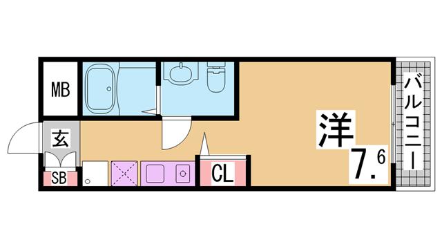 物件番号: 1111282983  神戸市北区谷上西町 1K マンション 間取り図