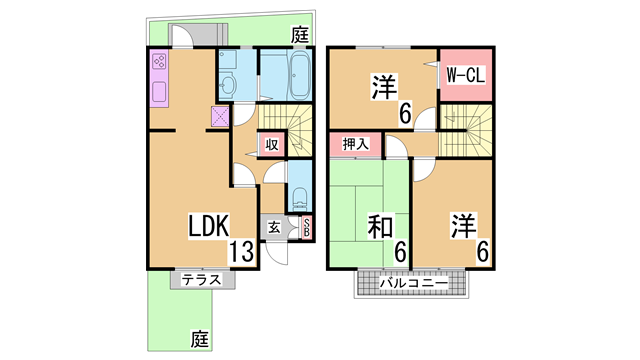 物件番号: 1111283223  神戸市北区有野中町1丁目 3LDK テラスハウス 間取り図