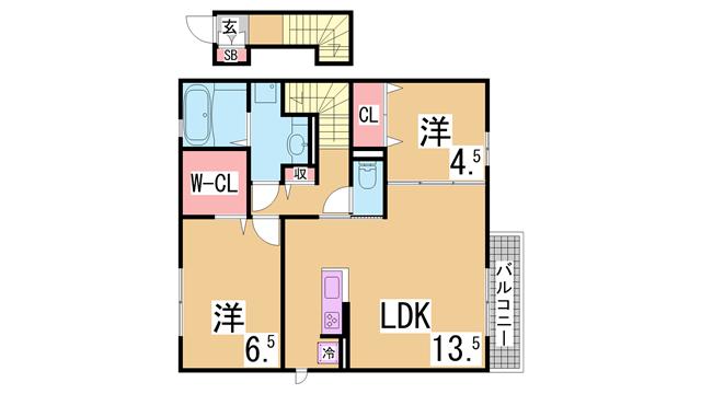 物件番号: 1111283235  神戸市北区杉尾台1丁目 2LDK ハイツ 間取り図