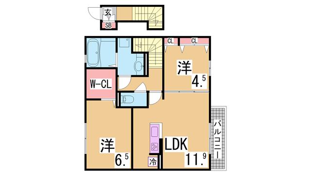 物件番号: 1111283237 レガロ鈴蘭 Ⅱ棟  神戸市北区杉尾台1丁目 2LDK ハイツ 間取り図