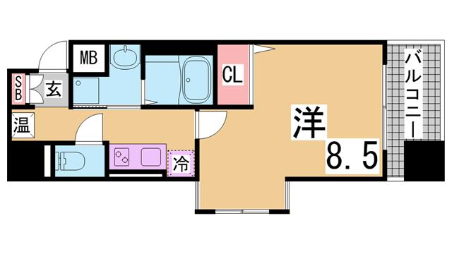 物件番号: 1111283715 エスティ・ロアール神戸駅前  神戸市中央区相生町4丁目 1K マンション 間取り図