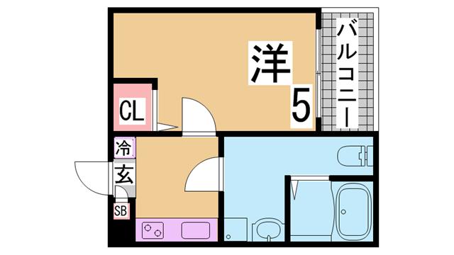 物件番号: 1111283868  神戸市長田区苅藻通1丁目 1K ハイツ 間取り図