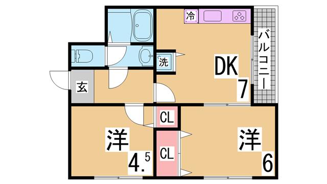 物件番号: 1111283991  神戸市北区鈴蘭台北町1丁目 1DK マンション 間取り図