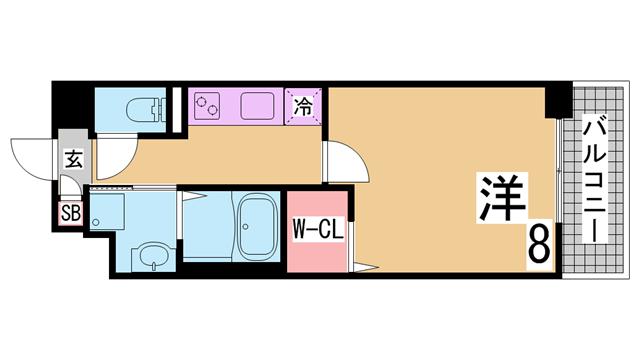 物件番号: 1111284111  神戸市北区有野中町3丁目 1LDK ハイツ 間取り図