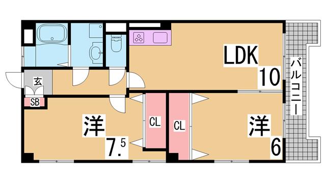 物件番号: 1111284160  神戸市北区北五葉6丁目 2LDK マンション 間取り図