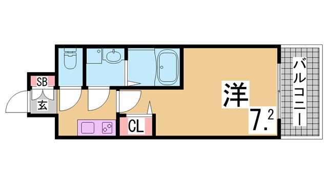 物件番号: 1111284238  神戸市須磨区車字潰ノ下 1K マンション 間取り図