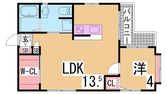 物件番号: 1111284247  神戸市須磨区大田町3丁目 1LDK マンション 間取り図