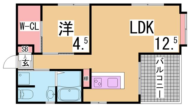 物件番号: 1111284252 ワコーレ板宿  神戸市須磨区大田町3丁目 1LDK マンション 間取り図